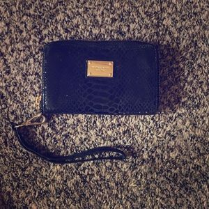 Michael Kors Black lizard embossed wristlet